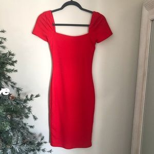 Lulus Red Square-neck BodyCon Mini Dress